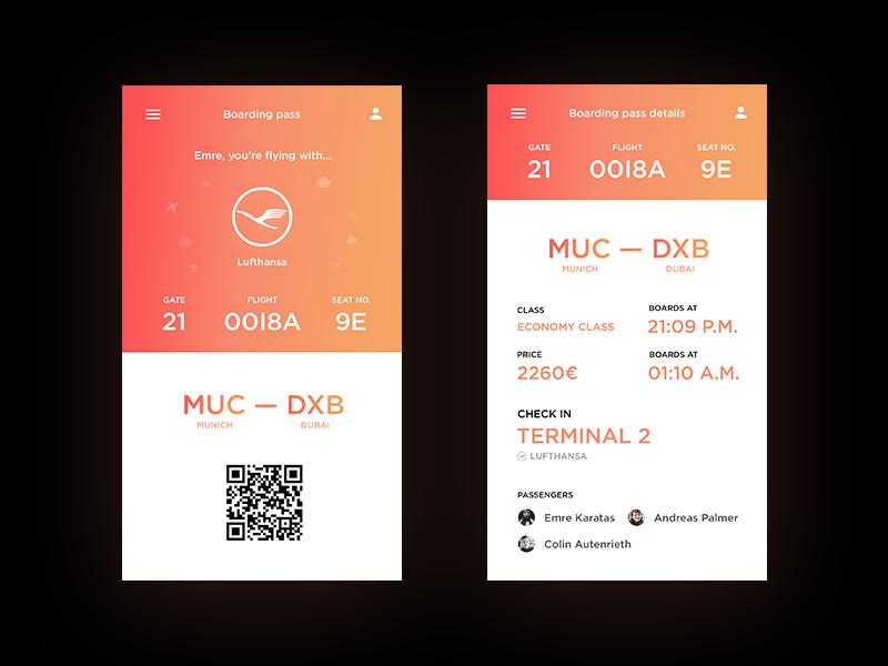 Mobile Boarding Pass App By Cody Dribbble Dribbble