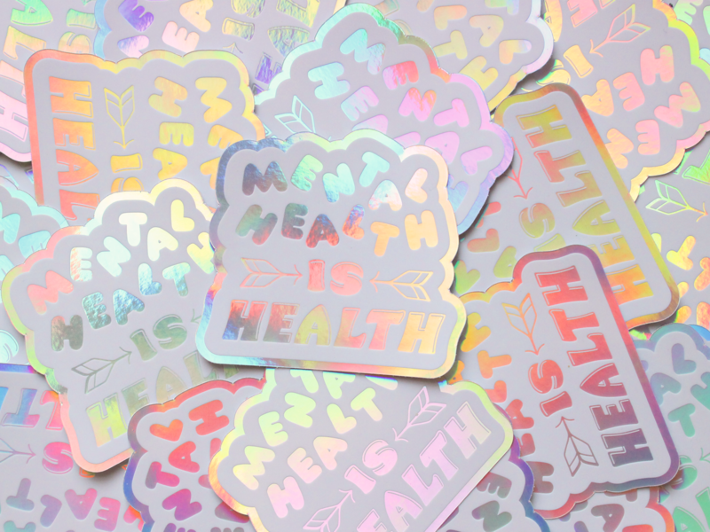 Be Ok Sticker Collaboration holographic stickermule stickers lettering illustration design typography
