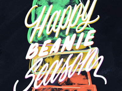Happy Beanie Season illustration calligraphy brush lettering graphic design inktober typography procreate