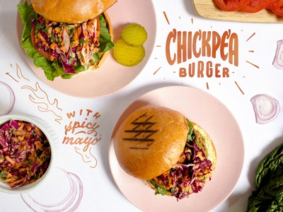 Chickpea Burger Lettering typography illustration photo illustration calligraphy adobe fresco lettering food and drink