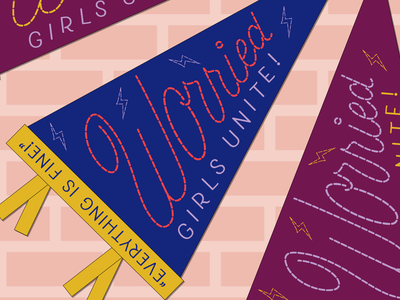 Worried Girls Unite! cursive vector design graphic design lettering illustration typography mental health awareness mental health