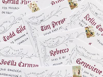 Blackletter Envelopes gothic parallel pen lettering art lettering typography invitations envelopes ink calligraphy blackletter
