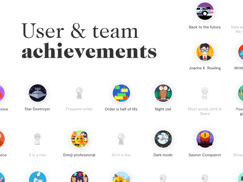 User & team achievements for Skara company wiki illustration interface landing page app ux ui design