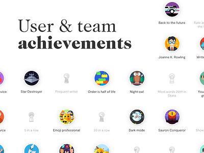 User & team achievements for Skara company wiki illustration interface landing page app ux ui design