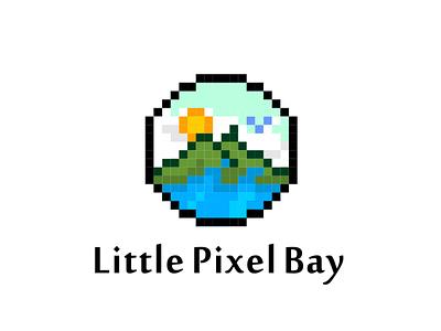 Little Pixel Bay wave playful landscape ocean bay nature branding logo pixel
