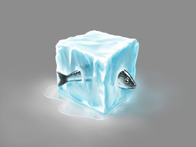 Just a cubed piece of ice texture technique procreate practice ice fish material illustration digital painting cube artwork