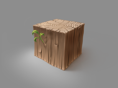 Just a cubed piece of wood wooden wood texture technique procreate practice nature material illustration digital painting cube artwork