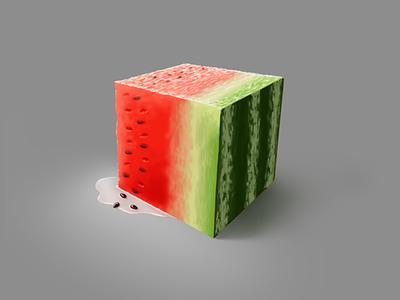 Just a cubed piece piece of watermelon art procreate watermelon cube color illustration digital art digital painting