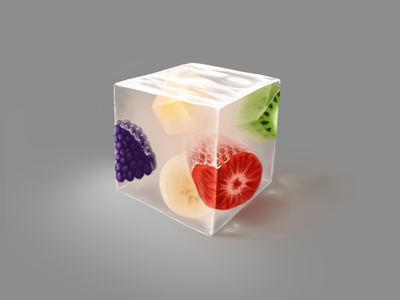 Just a cubed piece of cocktail fruit jelly painting procreate cube food art artwork illustration digital art digital painting