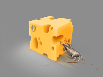 Just a cubed piece of cheese procreate food game mouse character cheese artwork illustration painting art digital art digital painting