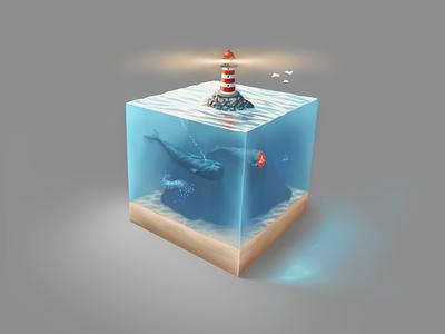 Just a cubed piece of sea art ipad pro procreate color game whale lighthouse sea artwork illustration digital art digital painting