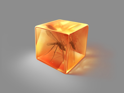 Just a cubed piece of amber with a mosquito inside material transparency mosquito amber procreate ipad pro digital painting digital art art painting artwork illustration