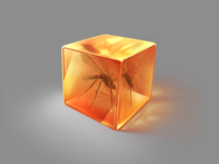 Just a cubed piece of amber with a mosquito inside