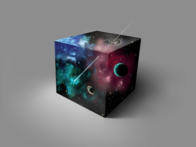 Just a cubed piece of outer space stars sky outer space planets universe space ipad pro procreate digital art digital painting painting art artwork illustration