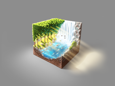 Just a cubed piece of nature landscape sun trees waterfall river outdoor nature cube game ipad pro procreate artwork digital painting digital art painting art illustration