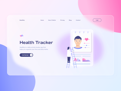 Health Tracker productdesign product design gradient color uiuxdesigner uiuxdesign ux ui webillustration illustration healtcare healthtech health health tracker health app glassmorphic glass effect glassmorphism design desktop design desktop app