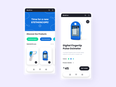 Medico - e-commerce for medical devices medical device medical design health care interface design health ui design medical app mobile design ecommerce onlineshop mobile ux ui design app