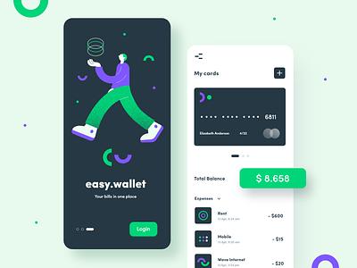 Easy Wallet - mobile app interface money financial wallet finance app fintech design mobile uxdesign illustration ux ui app