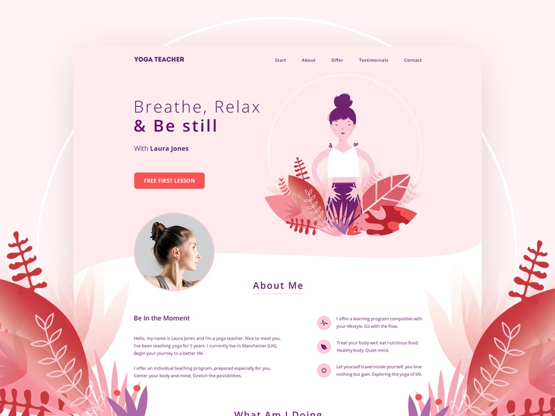 Yoga Teacher yoga design yoga website web design web ux ui minimal landing page art landingpage landing illustration home page hero image hero image illustration graphic design digital art design