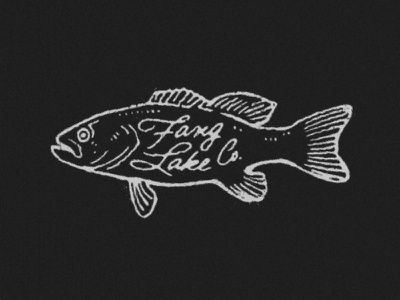 Fang Lake Bass retro outdoors angler fish vintage logo white black fishing