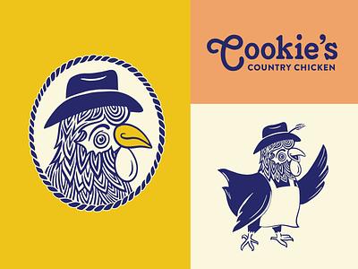 Cookies Country Chicken branding restaurant branding and identity chicken mascot icon logo branding
