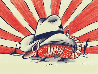 Texas desert armadillo sunny texas illustration
