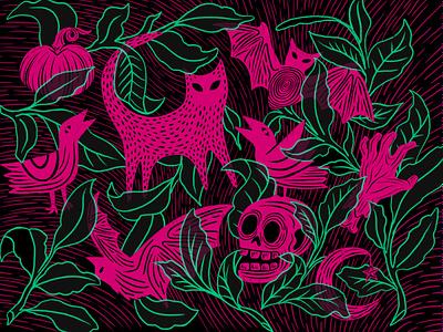 Halloween Art illustration skull spooky cat bat halloween