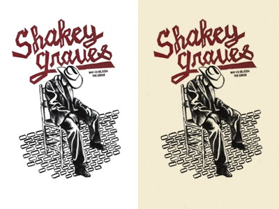 Shakey Graves Poster letterpress poster cowboy typography band music illustration linoleum
