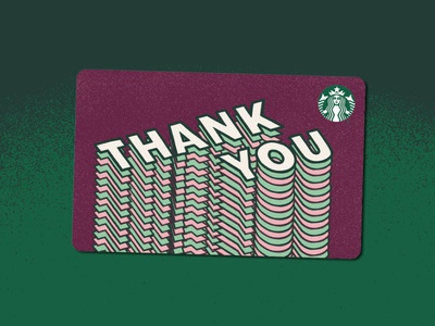Thank you card type dimensional gift card starbucks
