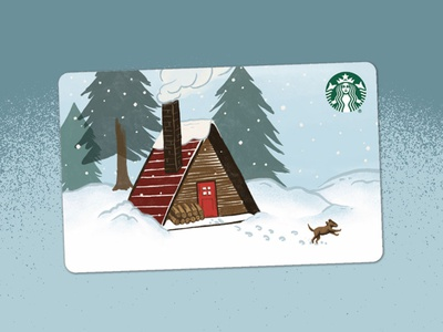 A frame holiday card winter starbucks winter scene cozy cabin
