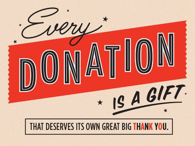 Donations donations typography vintage gameshow red