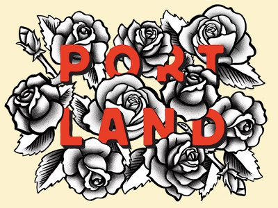 City of Roses typography illustration starbucks floral tattoo roses portland