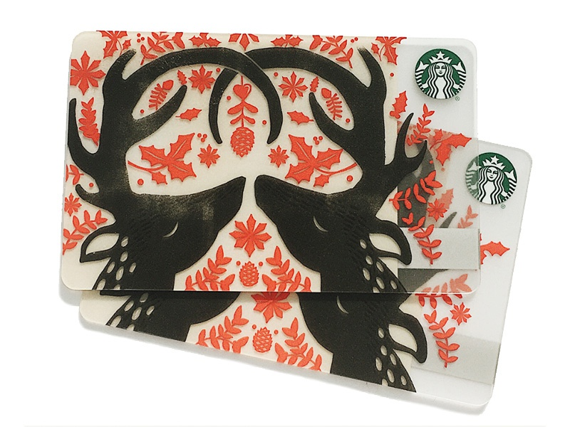 Starbucks Holiday Card foliage holiday deer gift card starbucks