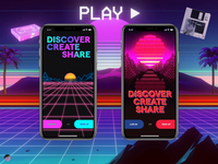 Log In / Sign Up Retrowave log in sign up purple blue red retrowave mobile gif ui design motion animation aftereffects