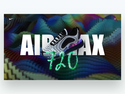 Nike Start Page 720 airmax blocks colorful rainbow nike sneaker shoe stardust element3d 3d visual design ui motion animation aftereffects