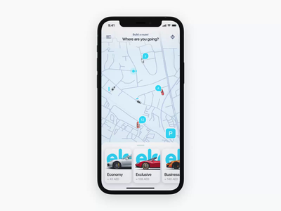 Carsharing Concept white blue interface iphone app map ar 3d carsharing car mobile design ui motion animation aftereffects
