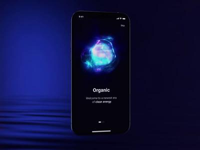 Onboarding interface digital creative app fingerprint sphere onboarding 3d visual design sci-fi iphone 12 iphone ios blue design ui motion animation aftereffects