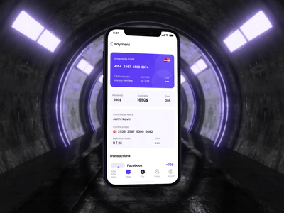 Tab Bar button wallet navigation footer icons tab bar animation 3d after effects motion uidesign purple iphone digital creative mockup product finance interface motion graphics