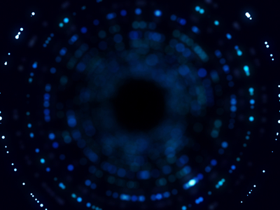 Through the wormhole inspiration funnel tunnel visual round cyan black circle blue particles motion animation aftereffects