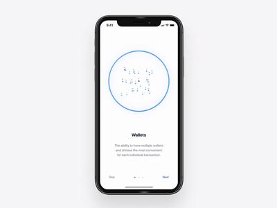 Mobile wallet app concept onboarding iphonex wallet transaction transform interaction transition mobile black white design blue ui motion animation aftereffects
