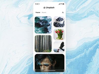 Unsplash unsplash concept girls marble iphonex interaction transition transform mobile photoapp photo black white design blue ui motion animation aftereffects