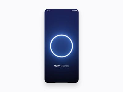 AI assistant motion artificial intelligence organize plans assistant iphonex concept digital black mobile white sphere particles design blue ui motion animation aftereffects
