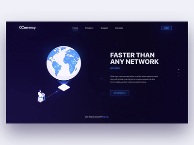 OCurrency Website Animation bitcoin art web design gradient network space crypto cryptocurrency site web illustration white particles design blue ui motion animation aftereffects