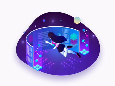 #1 | Girl at work art work space ik person girl vector illustration particles design motion animation aftereffects