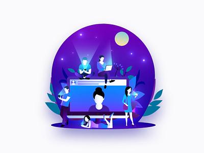 #2 | Social social flowers vector person ik art illustration blue design motion animation aftereffects