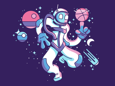 How is He Doing That in Space? character design design planets spaceman illustration debut
