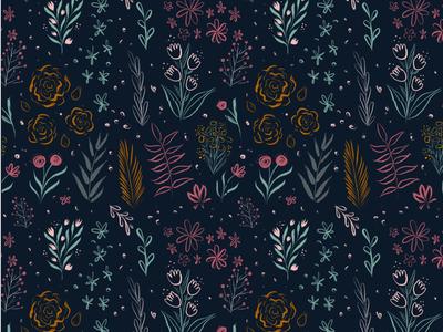Nocturnal Floral Pattern
