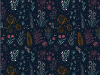 Nocturnal Floral Pattern