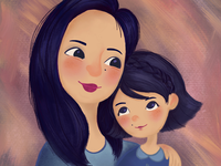 Mom and daughter illustration