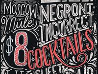 Chalk cocktail menu